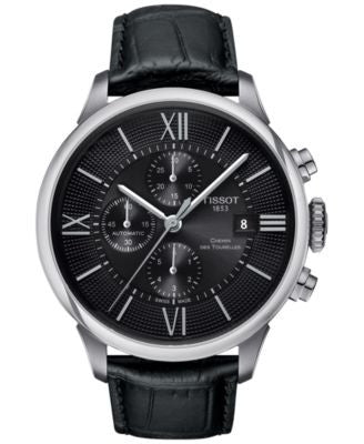 Tissot Men's Swiss Automatic Chronograph Chemin Des Tourelles Black Leather Strap Watch 44mm T099427