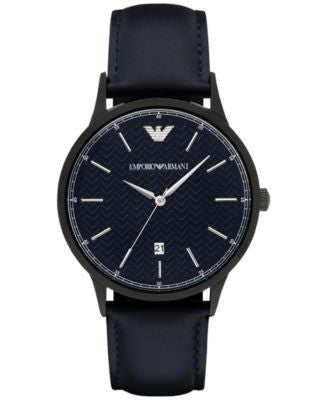 Emporio Armani Men's Renato Blue Leather Strap Watch 43mm AR2479
