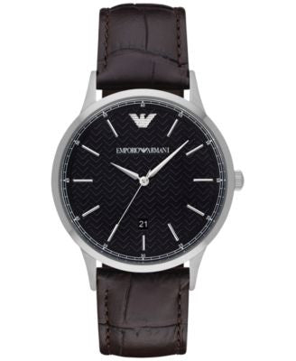 Emporio Armani Men's Renato Dark Brown Leather Strap Watch 43mm AR2480