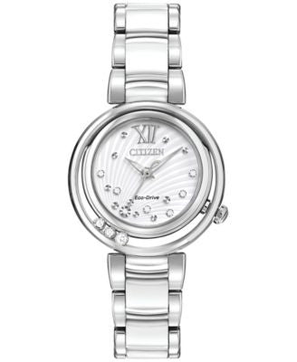 Citizen Women's Eco-Drive Sunrise Stainless Steel & White Ceramic Bracelet Watch 30mm EM0320-83A
