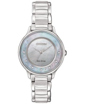 Citizen Women's Eco-Drive Circle of Time Diamond Accent Stainless Steel Bracelet Watch 30mm EM0380-8