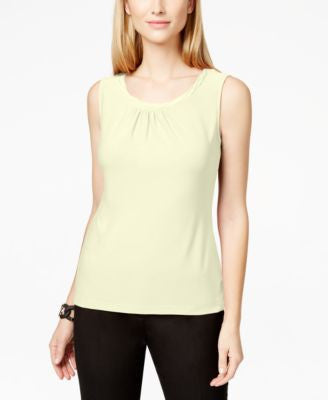 Tahari ASL Sleeveless Pleat-Neck Top