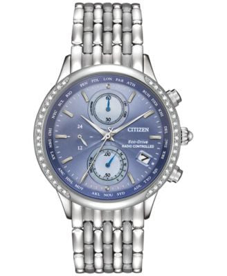 Citizen Women's World Chronograph A-T Eco-Drive Diamond Accent Stainless Steel Bracelet Watch 38mm F