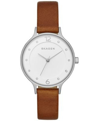 Skagen Women's Anita Brown Leather Strap Watch 30mm SKW2399