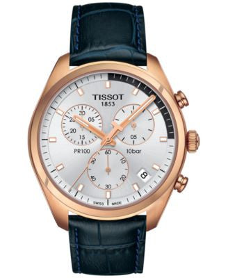 Tissot Men's Swiss Chronograph Tissto PR 100 Navy Blue Leather Strap Watch 41mm T1014173603100