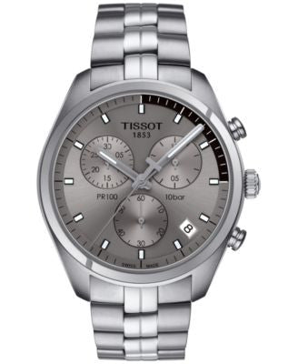 Tissot Men's Swiss Chronograph Tissto PR 100 Stainless Steel Bracelet Watch 41mm T1014171107100