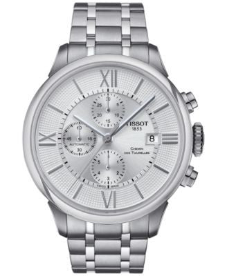 Tissot Men's Swiss Automatic Chronograph Chemin Des Tourelles Stainless Steel Bracelet Watch 44mm T0