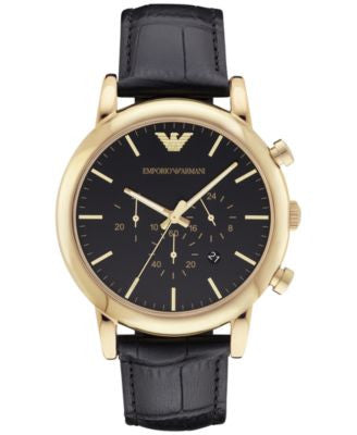 Emporio Armani Men's Luigi Chronograph Black Leather Strap Watch 46mm AR1917