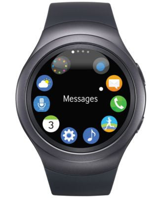 Samsung Unisex Dark Gray Round Samsung Gear S2 Watch 42mm R7200ZKAXAR