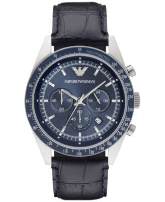 Emporio Armani Men's Chronograph Tazio Black Leather Strap Watch 46mm AR6089