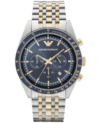 Emporio Armani Men's Chronograph Tazio Two-Tone Stainless Steel Bracelet Watch 46mm AR6088