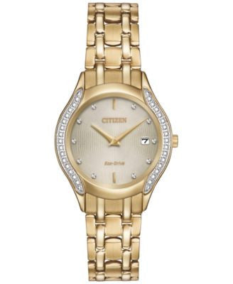 Citizen Women's Eco-Drive Diamond Accent Gold-Tone Stainless Steel Bracelet Watch 27mm GA1062-51P