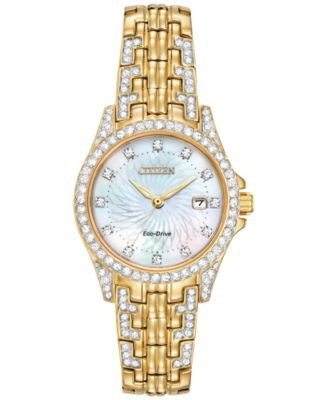 Citizen Women's Eco-Drive Crystal-Accent Gold-Tone Stainless Steel Bracelet Watch 28mm EW1222-84D
