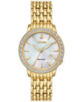 Citizen Women's Eco-Drive Gold-Tone Stainless Steel Bracelet Watch 29mm EW2282-52D