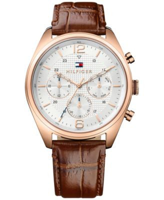 Tommy Hilfiger Men's Sophisticated Sport Brown Leather Strap Watch 44mm 1791183