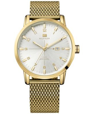 Tommy Hilfiger Men's Casual Sport Gold-Tone Stainless Steel Mesh Bracelet 44mm 1791210