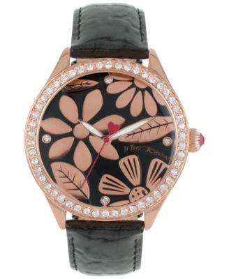 Betsey Johnson Women's Rose Gold-Tone Floral Black Leather Strap Watch 42mm BJ00517-10