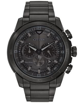 Citizen Men's Chronograph Eco-Drive Black Ion-Plated Stainless Steel Bracelet Watch 48mm CA4184-81E