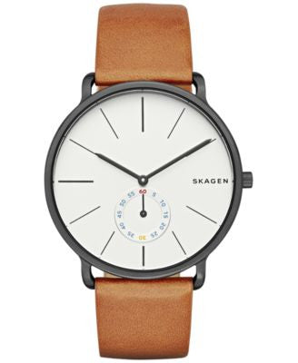 Skagen Men's Analog Hagen Brown Leather Strap Watch 40mm SKW6216