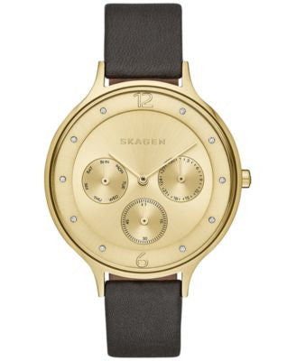 Skagen Women's Chronograph Anita Black Leather Strap Watch 36mm SKW2393