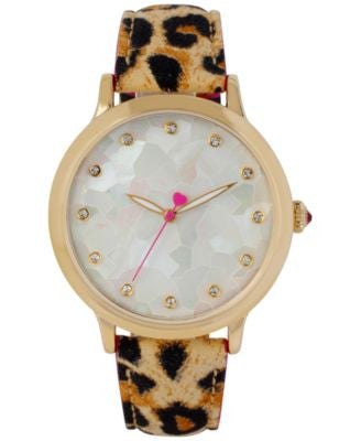 Betsey Johnson Women's Brown Leopard Print Leather Strap Watch 39mm BJ00531-03