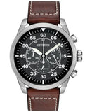Citizen Men's Chronograph Eco-Drive Brown Leather Strap Watch 45mm CA4210-24E
