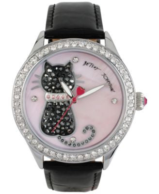 Betsey Johnson Women's Black Leather Strap Watch 42mm BJ00517-06