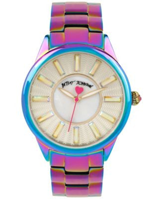 Betsey Johnson Women's Iridescent Stainless Steel Bracelet Watch 40mm BJ00433-04