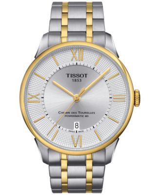 Tissot Men's Swiss Automatic Chemin Des Tourelles PVD Two-Tone Stainless Steel Bracelet Watch 42mm T