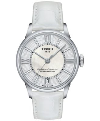 Tissot Women's Swiss Automatic Chemin Des Tourelles Diamond Accent White Leather Strap Watch 32mm T0