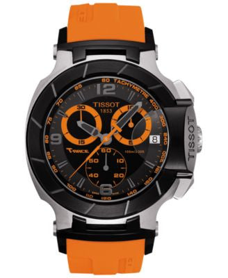 Tissot Men's Swiss Chronograph T-Race Orange Rubber Strap Watch 45mm T0484172705704