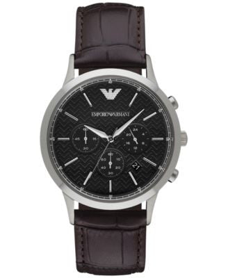 Emporio Armani Men's Chronograph Renato Dark Brown Leather Strap Watch 43mm AR2482