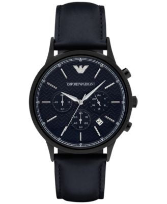 Emporio Aramani Men's Chronograph Renato Blue Leather Strap Watch 43mm AR2481