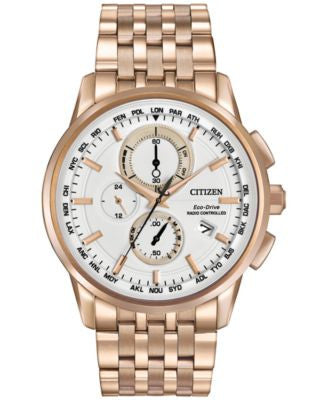 Citizen Men's Chronograph Eco-Drive Rose Gold-Tone Stainless Steel Bracelet Watch AT8113-55A