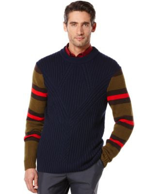 Perry Ellis Cable-Knit Stripe Sweater