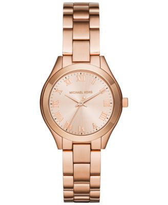 Michael Kors Women's Mini Slim Sunway Rose Gold-Tone Stainless Steel Bracelet Watch 33mm MK3457, Fir