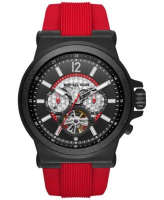 Michael Kors Men's Automatic Dylan Red Silicone Strap Watch 48mm MK9020