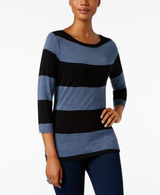 INC International Concepts Striped Boat-Neck Top, Only at Vogily