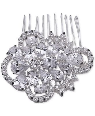 Nina Silver-Tone Cubic Zirconia Fantail Hair Comb