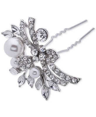 Nina Silver-Tone Faux-Pearl and Crystal Set of Two Hair Pins