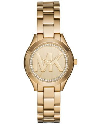 Michael Kors Women's Mini Slim Runway Gold-Tone Stainless Steel Bracelet Watch 33mm MK3477, First at
