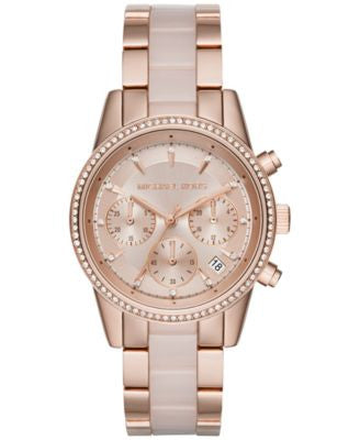 Michael Kors Women's Chronograph Ritz Blush Acetate and Rose Gold-Tone Stainless Steel Bracelet Watc