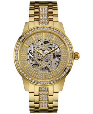 GUESS Men's Crystal Accent Gold-Tone Stainless Steel Bracelet Watch 44mm U0686G2