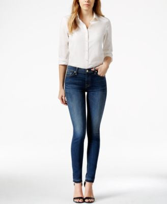 7 For All Mankind Skinny Released-Hem La Palma Blue Wash Jeans