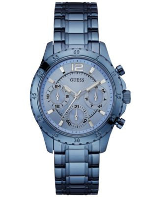 GUESS Women's Sky Blue Ion-Plated Stainless Steel Bracelet Watch 50mm U0704L2