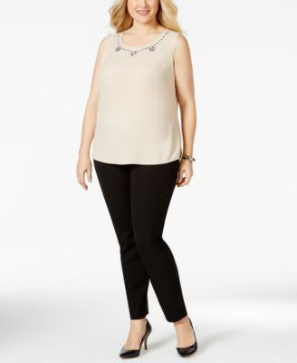 Kasper Plus Size Embellished Sleeveless Blouse