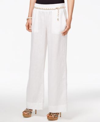 GUESS Chain-Detail Wide-Leg Linen Pants