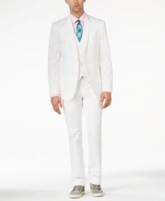 Bar III Slim-Fit White Solid Cotton Suit Separates, Only at Vogily