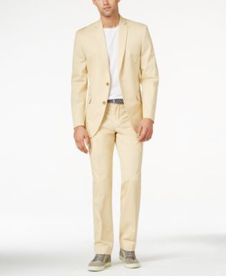 Bar III Khaki Solid Cotton Slim-Fit Suit Separates, Only at Vogily