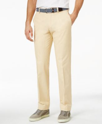 Bar III Khaki Solid Cotton Slim-Fit Pants, Only at Vogily